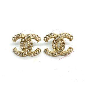 CHANEL Gold CC Pearl Studded Brand New CC Logo